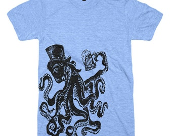 Beer Drinking Octopus T-Shirt - Mens T Shirt Beer Festival Cheers OctoberFest Gift For Him - Gifts - Boyfriend Drinking Shirt - Fathers Day