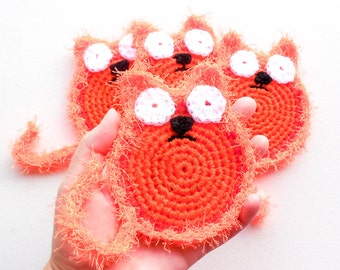 Crochet Cat Dish Scrubbies - Set of 2 through 8 - Orange Cat Scrubbie - Nylon Net Pot Scrubber