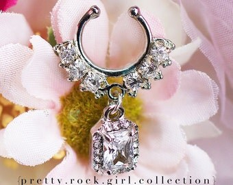 Septum, silver septum,  septum, Crystal Septum, jeweled septum, rhinestone septum, Non Piercing Septum Nose Ring, oversized septum