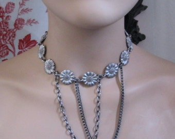 Choker Chain Necklace ~ Edgy  Hippie  Peace Lovin Flower