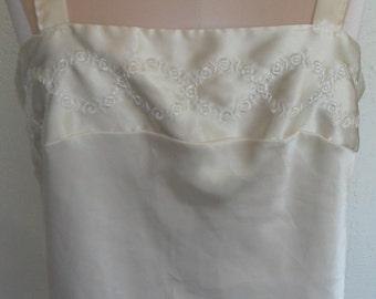 Vintage Camisole Ivory Satin Top Cami By Escapades Size Medium