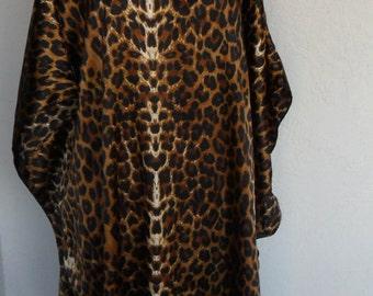 Vintage Caftan Winlar Satin Animal Print Hostess Gown Lounger XL