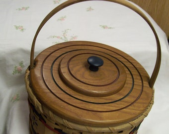 """Decorative Wooden Basket 3pc KS Lanam Signed Elaine 10"""""""