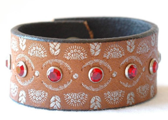 Womens Tan Leather Jeweled Cuff Bracelet with Hand Set Crystal Red Rivets and  Detailed Snap