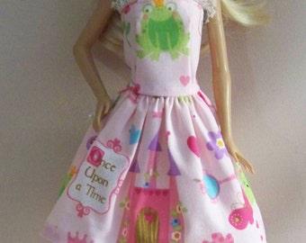 Handmade Barbie Clothes-Pink Princess Print Barbie Dress