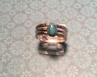 SALE! Sterling Silver Stack Rings w/Airizona Turquoise, Hand Forged, Sterling Silver, 925 Silver, Unique Gift, Gift under Twenty Dollars