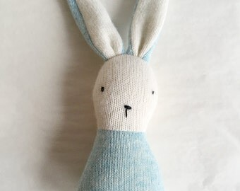 lapin-hochet bleu aqua - small aqua blue bunny rattle upcycled wool - one of a kind - eco friendly natural toy