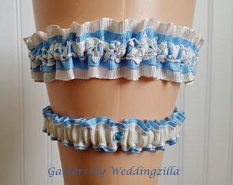 Silk Floral Lace Wedding Garter Set / Blue  Bridal Garter Set / Blue Ivory Wedgewood Style Garter / Wedding Garter Belt