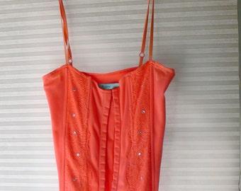 orange boned corset top size xs
