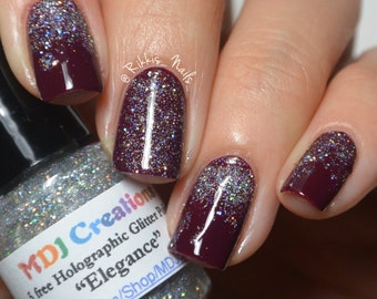Elegance  ~ Holographic Micro Glitter Nail Polish in clear base by MDJ Creations