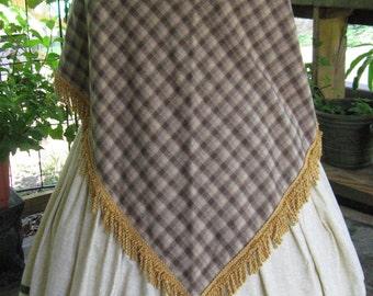 Fringed Wool Plaid Shawl, Neutral Browns