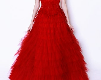 Firebird Ballet Red Feather Corset Tulle Ball Gown Chinese Wedding Dress