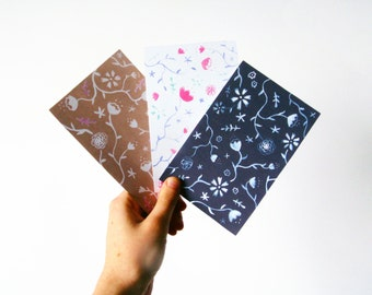 Floral Notecards Stationary, set of 3 cards with botanical flower design