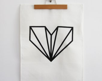 Diamond Heart linen tea towel - screen printed by hand