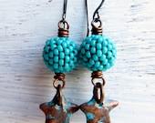 Star Stuff - handmade earrings, star earrings, turquoise earrings, handwoven earrings, bead earrings, blue earrings, star jewelry, uk