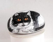 Hand Painted Stone Cat. River Rock Paperweight Home Decor Painting. Cat Collectible. Hand Made. Folk Painting. 3D Pet.