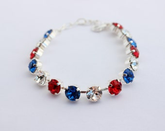 Red white and Blue Swarovski Bracelet, USA bracelet, rhinestone bracelet, Red bracelet, red and blue bracelet, fourth of July, siam bracelet