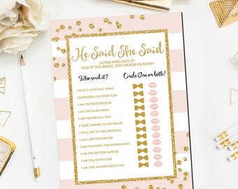 He Said She Said Bridal Shower Game, Pink and Gold Bridal Printable Gold Pink He Said She Said Bridal Shower Game Instant Download BR12