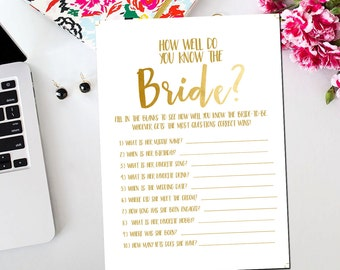 How Well Do You Know The Bride and Groom Printable Card, Printable Gold White Bridal Shower Game Who Knows the Bride Best Game BR16