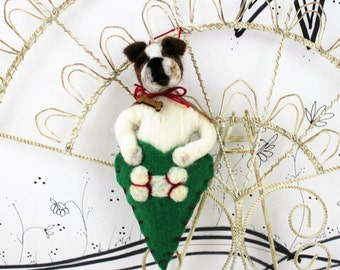 Needle felted Bulldog, American bulldog, Pet Pockets, wool ornament, ready to mail dog ornament, boxer in heart ornament, brown tan boxer