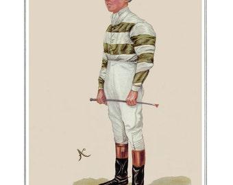 Horse Track Racing with Jockey Print. Sporting Print of Jockey in Racing Colors. Horse Racing Gambling and Betting. Prints of Jockeys