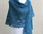 Knit shawl, knit wrap in dark teal blue green, lace wrap, gift for her, wedding shawl