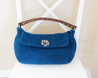 Knit Bag Pattern,  Felted Purse Pattern, Felted Purse, Knitted Purse, Knitting Pattern - Sapphire Purse by Deborah O'Leary Patterns