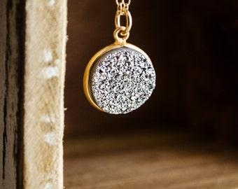 Druzy Necklace | Silver Titanium Druzy | Gold Bezel Necklace | Minimalist Jewelry | Drusy Charm | Everyday Gifts for Her