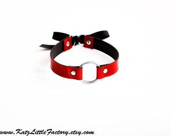 Bondage Choker Ring Collar Red Mirror Iridescent PVC