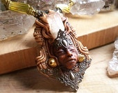 Danburite ancient goddess crystal macrame clay pendant