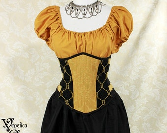 "Badger Wizard House Inspired Steampunk Black & Gold Waspie Corset w/Solid Front -- Corset Size 42, Fits Waist 45""-47"" -- Ready to Ship"
