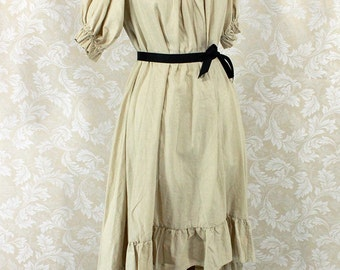 """Steampunk Ragamuffin Dress with Short Sleeves in Khaki Cotton -- Size L, Fits Bust 44""""-48"""" -- Ready to Ship"""