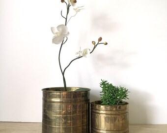 Vintage Art Deco Hollywood Regency Style Brass Planter Pots