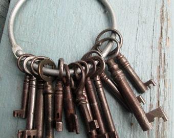 Barrel Keys on Jailer's Ring Vintage Steel/Iron Set of 13 Keys