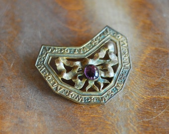 vintage art nouveau brass and amethyst glass sash pin / antique brooch
