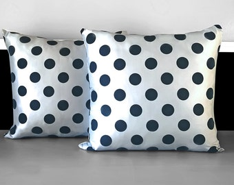 "Pair of Pillow Covers - Sliver Black Flocked Polka Dot, 18"" x 18"", Ready to Ship"