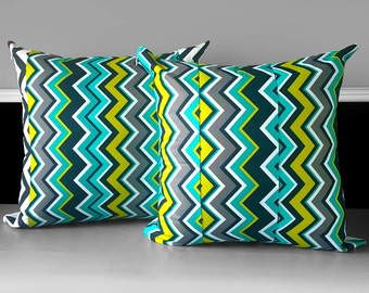Pair of Pillow Covers - Chevy Chevron Lagoon, Ready to Ship