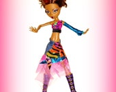 "Handmade Clothes, ""Scrips and Scraps from Gooliope's Closet"" fits 17 inch Monster High Dolls"