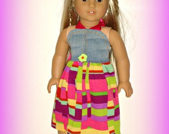 "Made to Fit 18"" Dolls such as American Girl, 1970s Style Doll Clothes, Halter Dress, Summer Brights, Denim and Multicolor by traveller240"