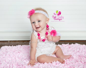 Cake Smash Outfit - Baby Girl 1st Birthday Outfit - White & Pink Baby Romper - Baby Girl Rompers -Cotton Candy Birthday - 1st Birthday Photo