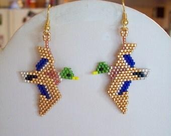 Native American Style Beaded Gold and Green Mallard Duck Wild Life Earrings Brick Stitch, Peyote, Southwestern, Boho, Great Gift