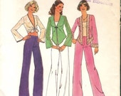 Hip Vintage 1970s Simplicity 6971 Top, Tie-Front Blouse and Wide-Leg Flared Pants Sewing Pattern B34