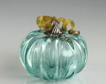 """3.5"""" Glass Pumpkin by Jonathan Winfisky - Transparent Emerald Green - Hand Blown Glass"""