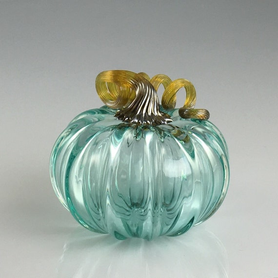 "5"" Glass Pumpkin by Jonathan Winfisky - Transparent Emerald Green - Hand Blown Glass"