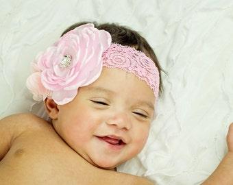 Newborn Baby Girls Lace Satin Hand Burned Edges Flower Gemstone Headband, Toddler Headband, Photo Prop, Luxury, Stacked Headband Handmade