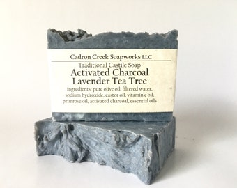 Tea Tree Lavender Charcoal Soap, Activated Bamboo Charcoal, Coconut Free, Palm Free, Natural Cleanser, Oily Skin, Odor Removing