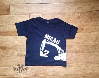 Construction birthday shirt, digger birthday shirt, personalized excavator shirt, boys shirt