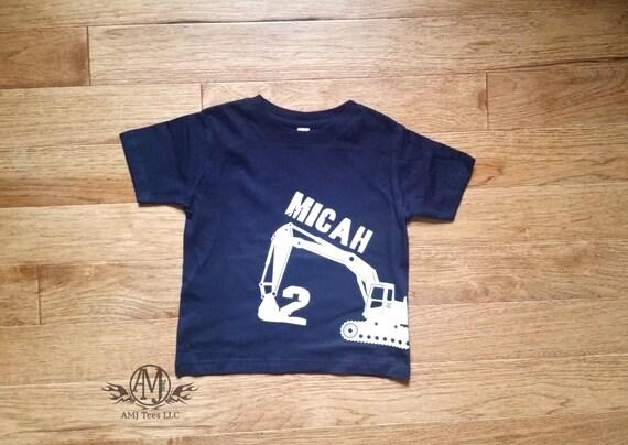 Construction birthday shirt, digger birthday shirt, personalized excavator shirt, boys shirt