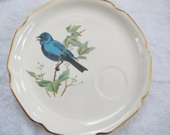 Georgian China Bluebird Luncheon Plate (Pair) / Vintage made in USA plate with 22 kt gold trim