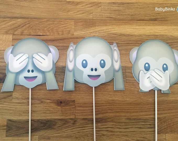 Photo Props: The Monkey Emoji Set (3 Pieces) - party wedding birthday see no evil hear speak social media iPhone app icon stick centerpiece
